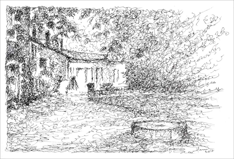 Dessin encre chine, henri Blanc, drawing ink, saint pompon