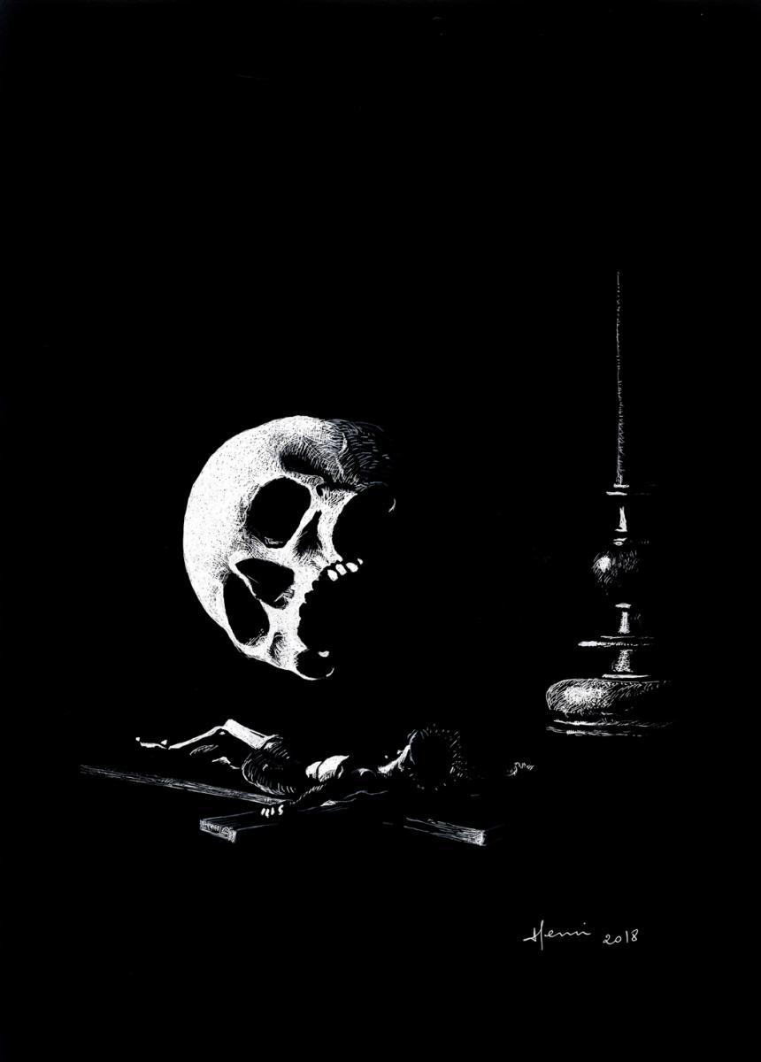 Dessin, drawing, ink, dessin plume, encre de Chine, Henri Blanc, crane, skull