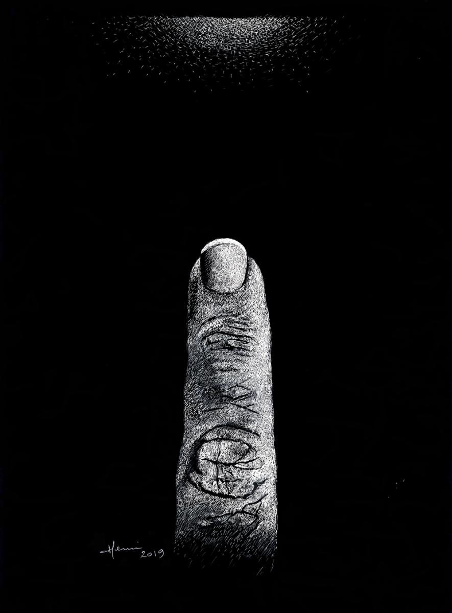 Wisdom, ink drawing, Henri Blanc, dessin plume