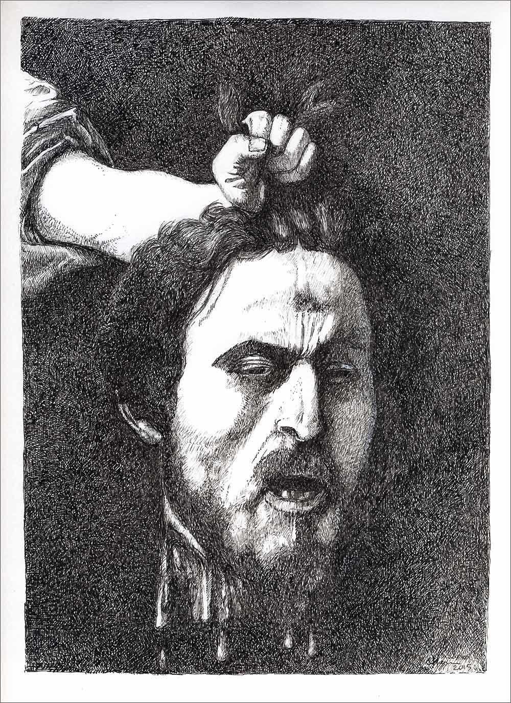 Henri Blanc dessins à la plume - Caravage daesh ink drawing