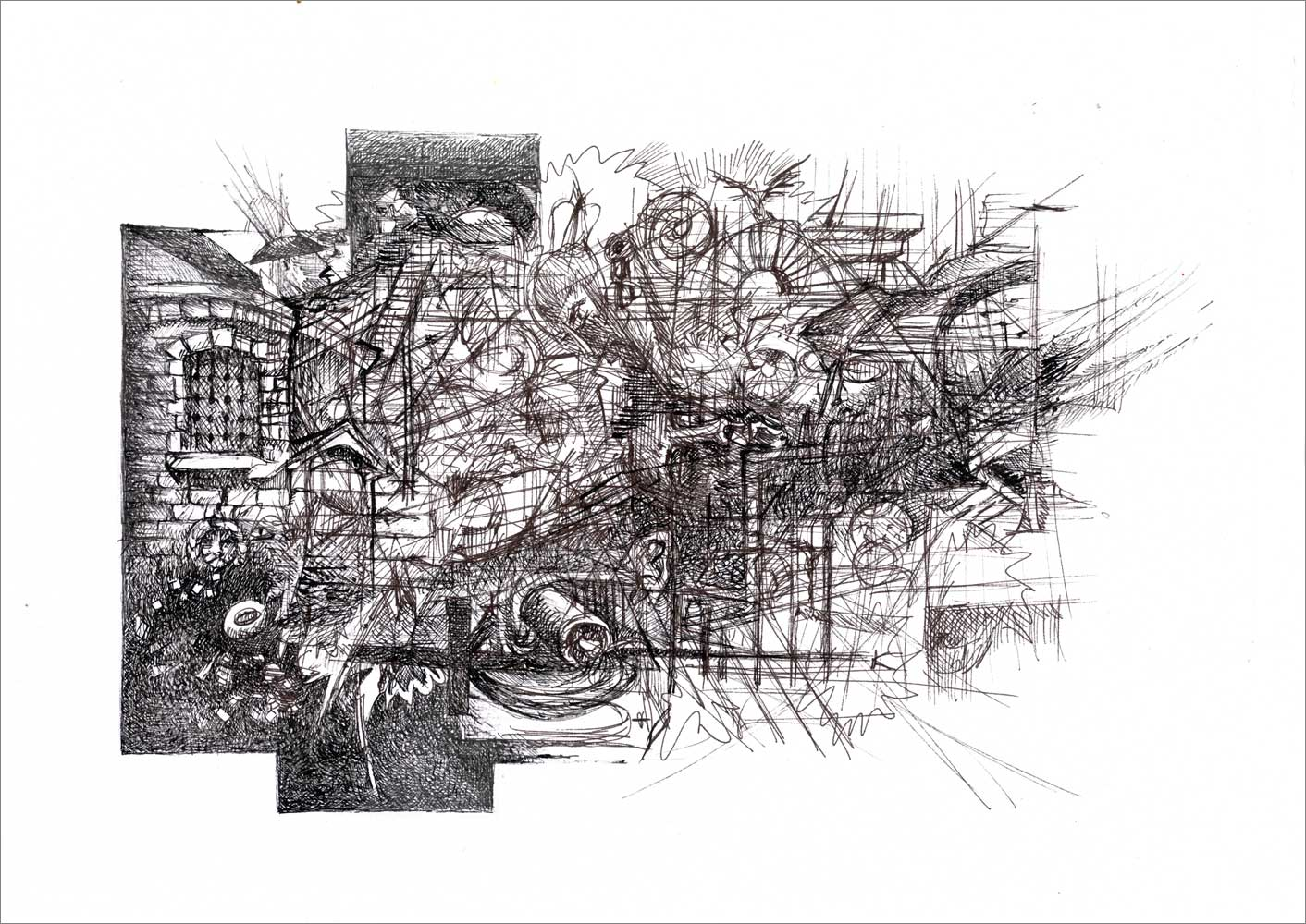 Henri Blanc dessins à la plume - Gomorra episode_10 ink drawing