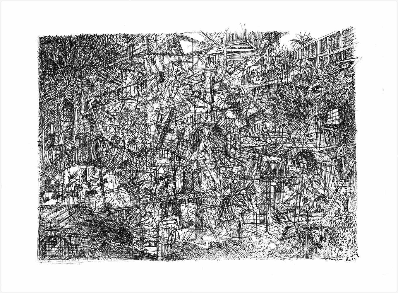 Henri Blanc dessins à la plume - Carceri di Gomorra ink drawing