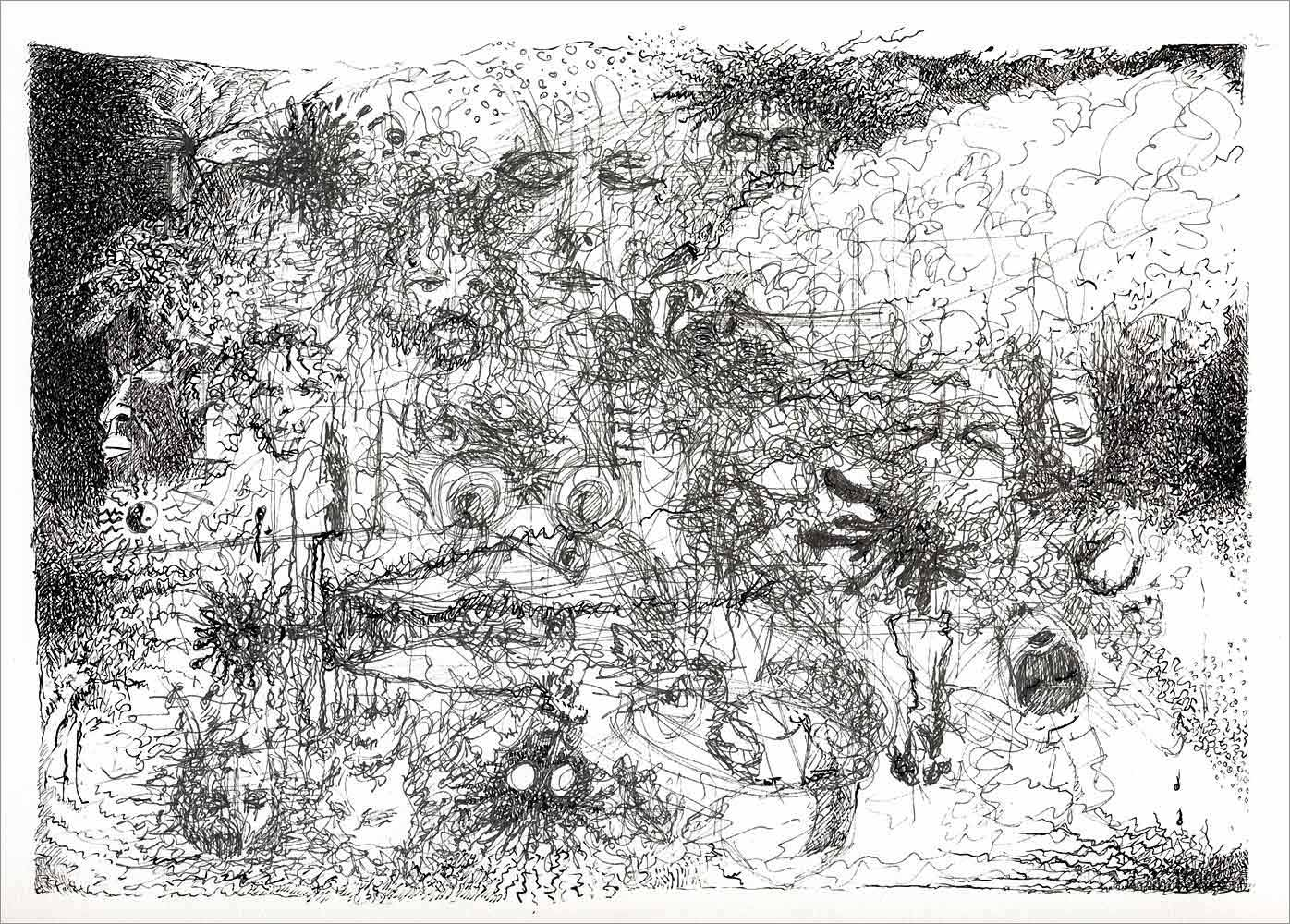 Henri Blanc dessins à la plume - immersion ink drawing