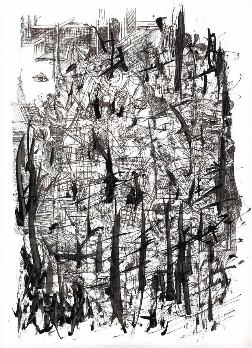 Henri Blanc dessins à la plume - indonesie indonesia 1965 ink drawing