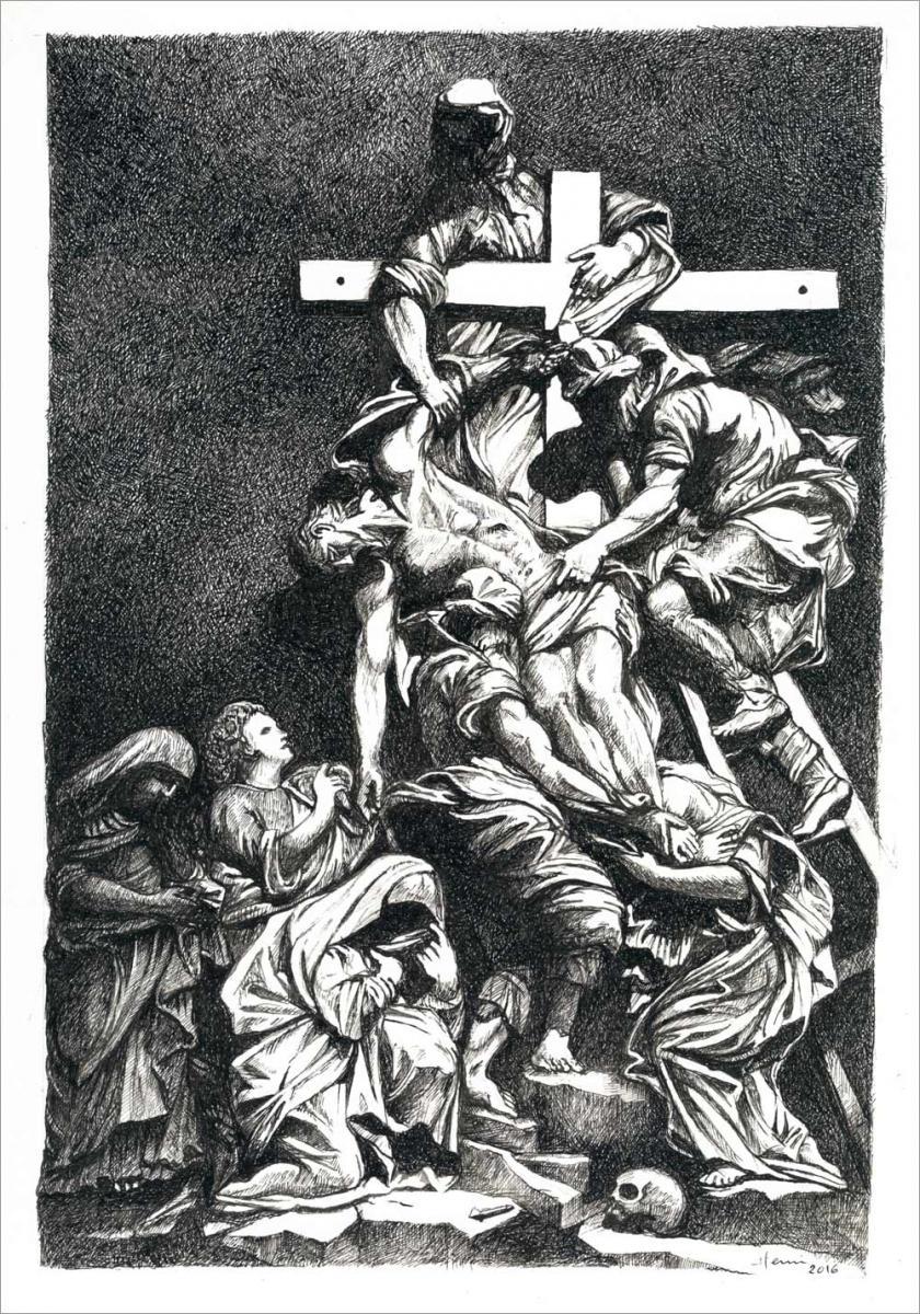 Henri Blanc dessins à la plume - La déposition de Jésus ink drawing
