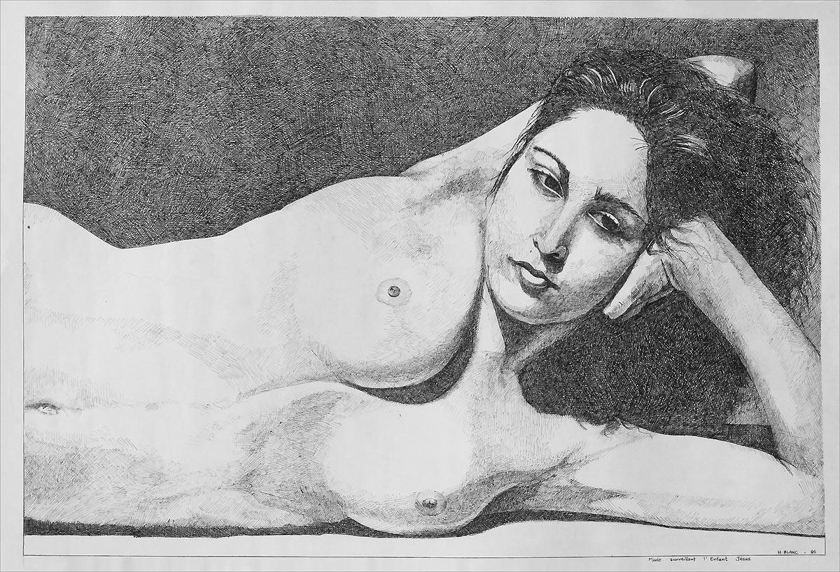 Henri Blanc dessins à la plume - Marie surveillant l'enfant Jésus ink drawing