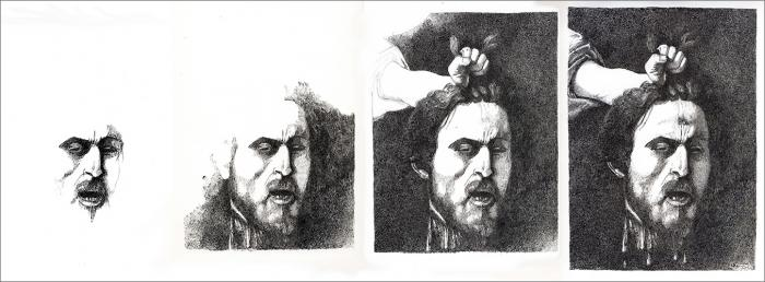 Henri Blanc dessins à la plume - Goliath Caravage autoportrait ink drawing