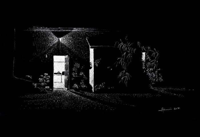 Drawing Henri Blanc Dessin plume ink encre de chine night light nuit Freneuse sur Risle