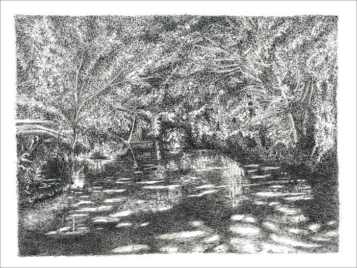 Dessin, drawing, ink, dessin plume, encre de Chine, Henri Blanc, Dordogne, Céou, Concazal