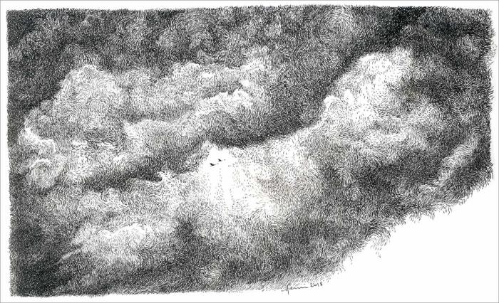 Henri Blanc, drawing, dessin, plume, ink, clouds, sky, ciel, nuages, oiseaux migrateurs, migratory bird, migrant