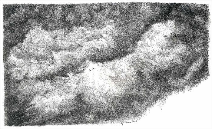Henri Blanc, drawing, dessin, plume, ink, clouds, sky, ciel, nuages, oiseaux migrateurs, migratory bird, migrant