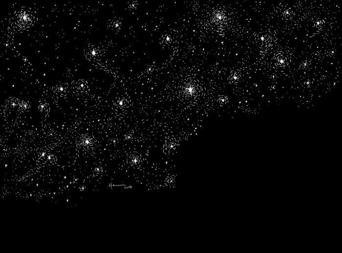 Drawing Henri Blanc Dessin plume ink encre de chine summer night nuit été etoiles milky way stars voie lactée