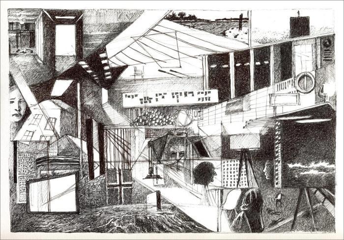Henri Blanc dessins à la plume - Occupied ink drawing