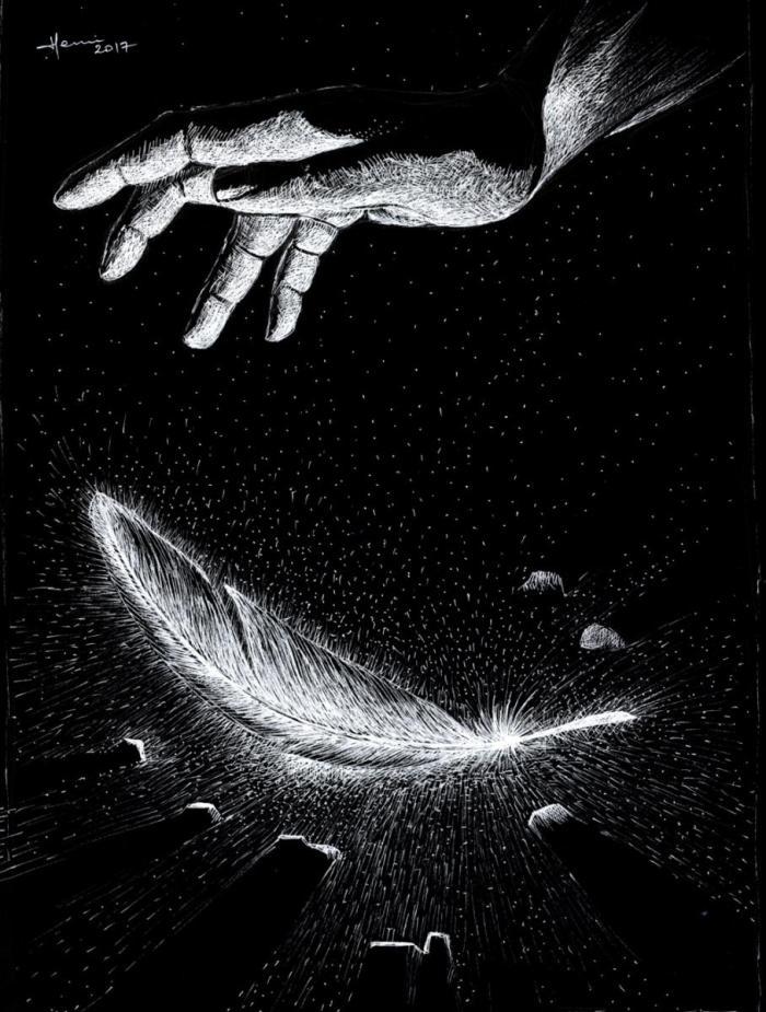 dessin, henri blanc, drawing ink, plume, encre de Chine, feather, Freedom, liberte