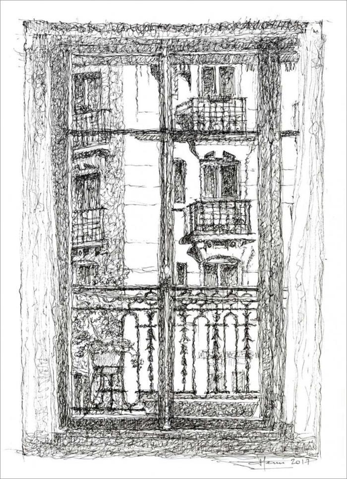dessin, henri blanc, drawing ink, plume, encre de Chine, Paris