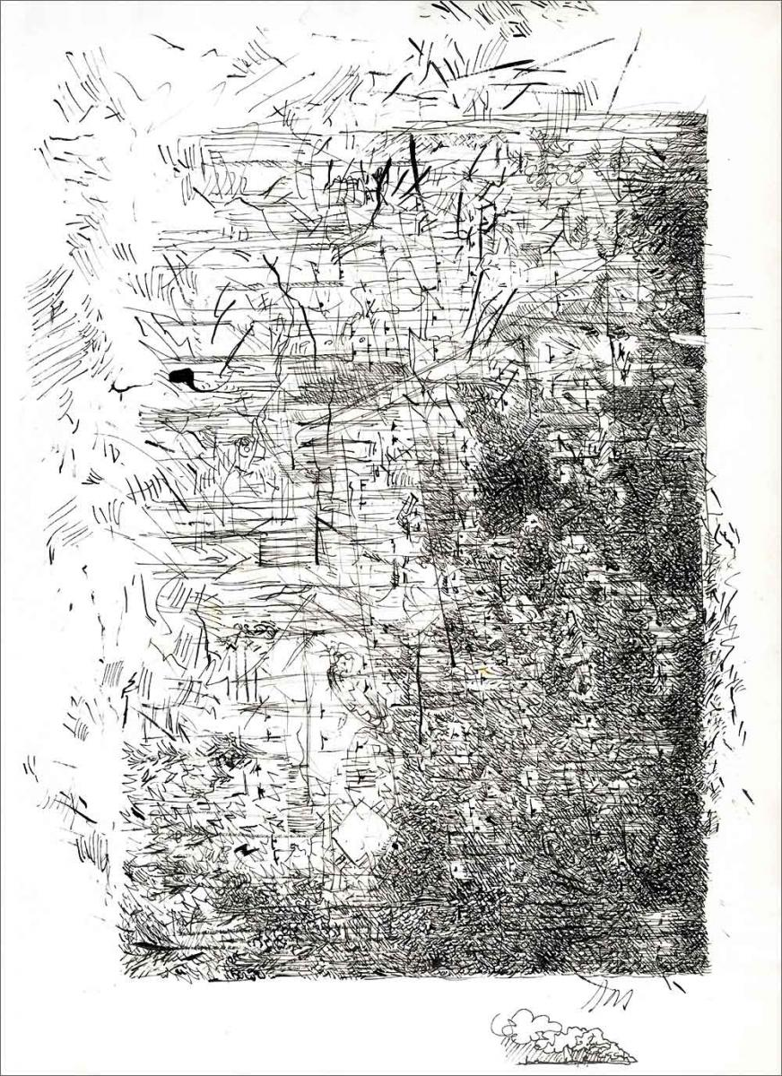 Henri Blanc dessins à la plume - Soiree Tele Western movie ink drawing